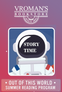 Out Of This World Summer Reading Program, special evening story time event graphic, depicting an illustration of an astronaut