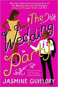 """""""The Wedding Party"""" book cover, featuring a pink background with a couple dressed in formal wear and the book title"""