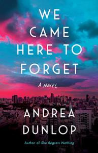 """""""We Came Here to Forget"""" book cover, featuring blue and pink sunset over a city scape and the book title"""