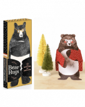 Image of box of Bear Hug Cards and Bear with a red sweater next to a tree card