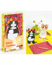 Image of box of cards with cats playing