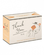Image of boxed cards with Thank You written on and a drawing of a man tipping his hat