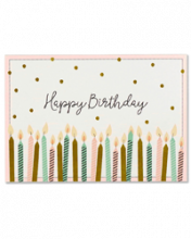 Image of card with polka dot background and candles along the bottom that reads Happy Birthday