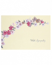 Image of cream colored card with colorful flower branch and the words With Sympathy underneath