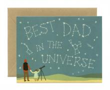 Image of greeting card with Best Dad in the Universe written in the stars
