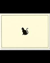 Image of ecru notecard with black cat