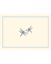 Image of Blue Dragonflies on Ecru note cards