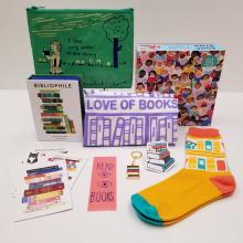 Photo of items included in Bibliophile bundle