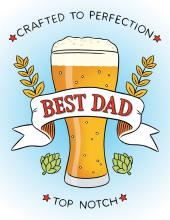 Image of greeting card with beer pint and BEST DAD written over it