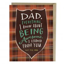 Image of red plaid card with Dad, Everything I Know About Being Awesome I Learned From You Don't Tell Mom on the front