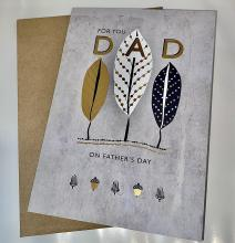 Image of gray greeting card with feathers on the front