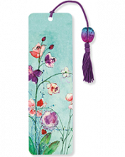 image of Fuchsia Blooms Beaded Bookmark