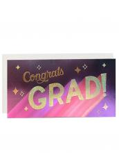 Image of dark purple greeting card with gold lettering