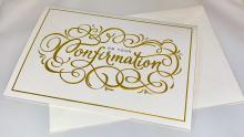 Image of white greeting card with gold lettering