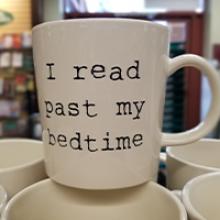 I Read Past My Bedtime Mug (white ceramic with black typewriter font)