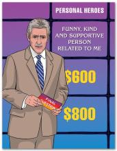 Image of greeting card with Alex Trebek on the front