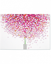 Image of white card with pink lollipop style tree