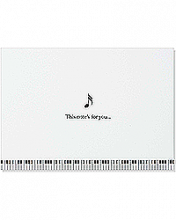 Image of white card with a music note in the middle and a piano key border on bottom