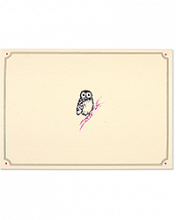 Image of cream colored card with owl on a pink branch