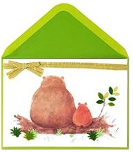 Image of a greeting card with a papa bear and a baby bear sitting on a log on the front