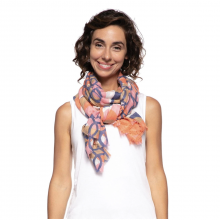 Image of Woman Wearing Pink Gina Oversized Jacquard Scarf