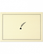 Image of cream colored card with black Quill and Ink Pen