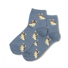 Image of Slate Birthday Frenchie Women's Crew Socks