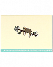 Image of Brown sloth & tree branch on ecru note card. With turquoise border on bottom.