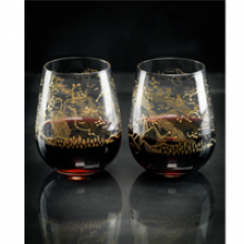 Image of two stemless wine glasses with Southern Hemisphere gold etching