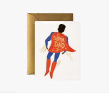 Image of greeting card with a dad in a superhero cape on the front