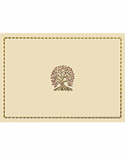 Image of Tree on ecru card with gold border.