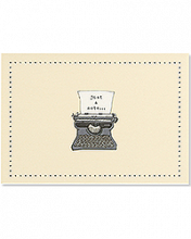 Image of cream colored card with illustration of a typewriter in the middle