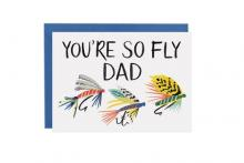 Image of greeting card with fly fishing hooks on the front