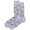 Image of Outline Cat Blue Men's Crew Socks