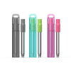 Image of three pocket straws, charcoal, teal and pink