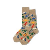 Image of Dinosaurs Hemp Heather Men's Crew Socks
