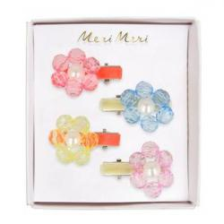 Image of Flower Jewel Hair Clips