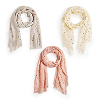 Image of assorted Gold Foil Bee Scarves