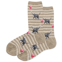 Image of Hemp Heather Elephant w/Ballons Women's Crew Socks