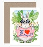 Image of a bunny with glasses wearing an I Love Los Angeles shirt