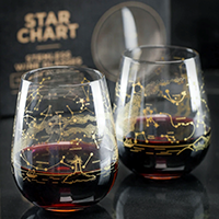 image of glasses - clear stemless wine glass with gold etching