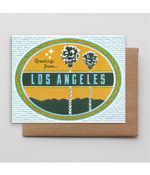 Image of two palm trees with the writing Greeting from Los Angeles