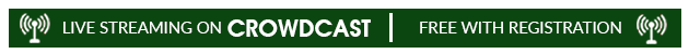Image of green banner reading Live Streaming on Crowdcast Free With Registration