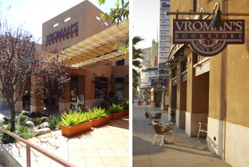 Photos of the Vroman's Bookstore Building (shot of the entrance by the parking lot and shot of the front sign)